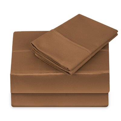 250 Thread Count 100% Cotton 4 Piece Sheet Set Size: King, Color: Cocoa