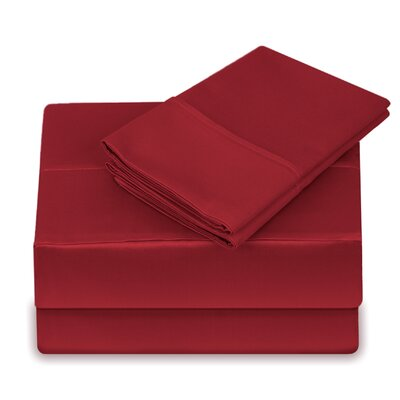 250 Thread Count 100% Cotton 4 Piece Sheet Set Size: Queen, Color: Cranberry
