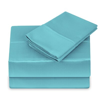 250 Thread Count 100% Cotton 4 Piece Sheet Set Size: King, Color: Light Blue