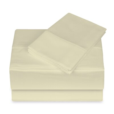 250 Thread Count 100% Cotton 4 Piece Sheet Set Size: King, Color: Cream