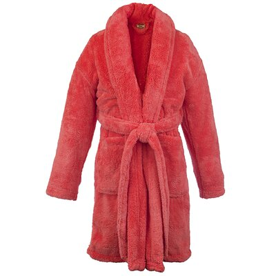 Microfiber Fleece Shawl Bathrobe Color: Coral, Size: One Size