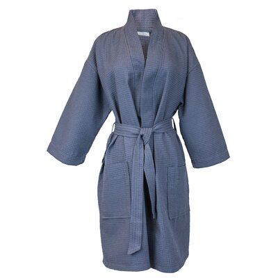Thigh Length Waffle Kimono Bathrobe Color: Ant, Size: One Size