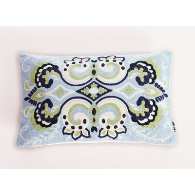 Embroidered Damask Lumbar Pillow Color: Blue