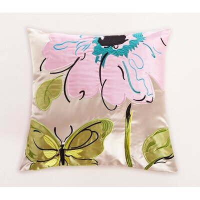 Embroidered Butterfly and Flower Throw Pillow Color: Pink