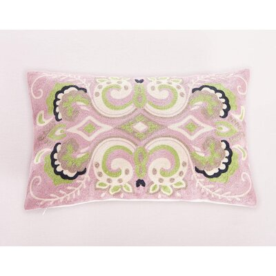 Embroidered Damask Lumbar Pillow Color: Pink