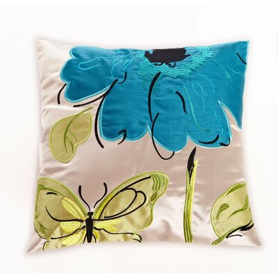 Embroidered Butterfly and Flower Throw Pillow Color: Blue