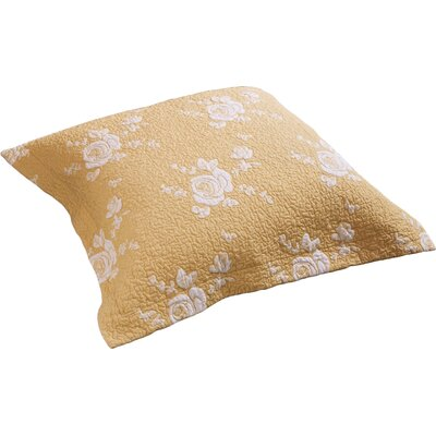 Rose Melody Luxury Hand Quilted Pillow Sham Size: Euro