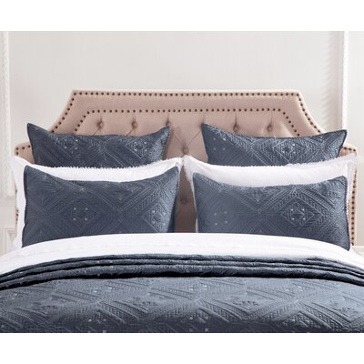 Fern Crystal Pillow Sham Size: Standard, Color: Graphite