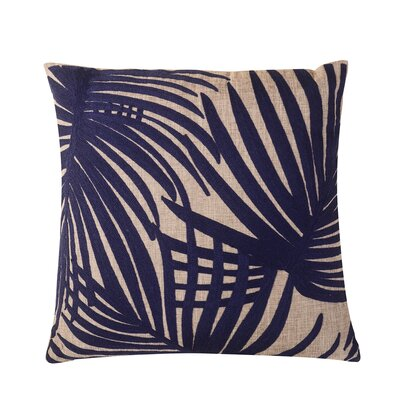 Embroidered Palm Leaf Throw Pillow Color: Blue