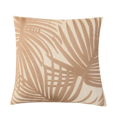Embroidered Palm Leaf Throw Pillow Color: Brown