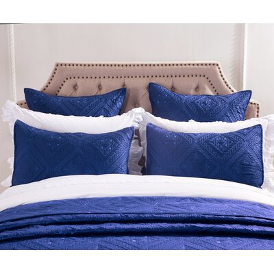 Fern Crystal Pillow Sham Size: Euro, Color: Navy Blue