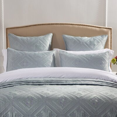 Fern Crystal Pillow Sham Size: Euro, Color: Seafoam