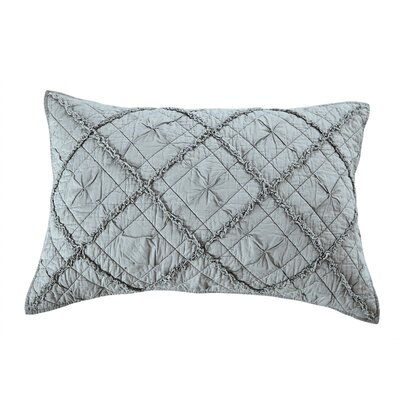 Diamond Applique Pillow Sham Color: Fog, Size: Euro
