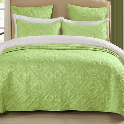 Fern Crystal Quilt Size: King, Color: Lime