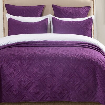 Fern Crystal Quilt Size: King, Color: Purple