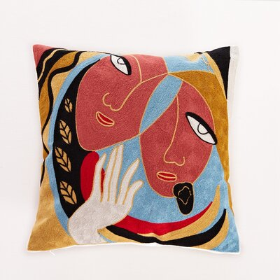 Embroidered Abstract Duality Cotton Throw Pillow