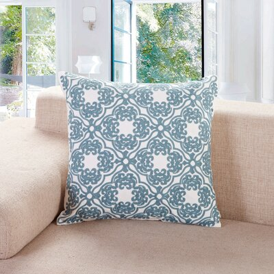Cardington Embroidered Lattice Cotton Throw Pillow Color: Blue