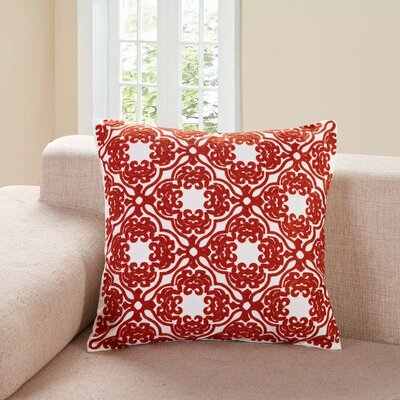Cardington Embroidered Lattice Cotton Throw Pillow Color: Red
