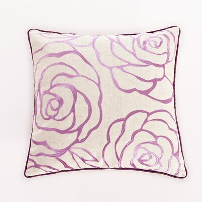 Embroidered Rose Decorative Throw Pillow