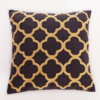 Alsager Embroidered Clover Throw Pillow Color: Black and Gold