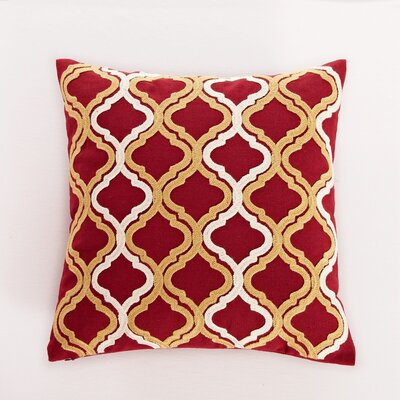 Embroidered Quatrefoil Throw Pillow