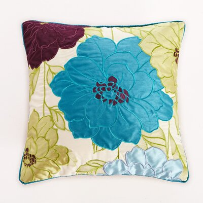 Embroidered Dahlia Throw Pillow