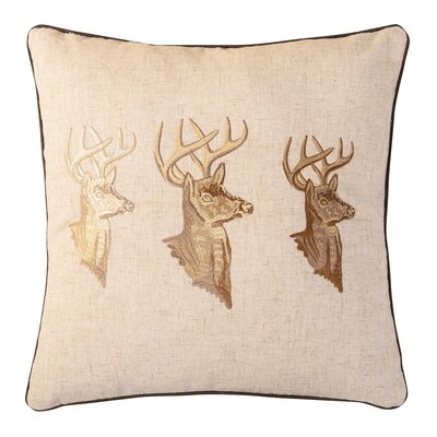 Golden Buck Embroidered Throw Pillow