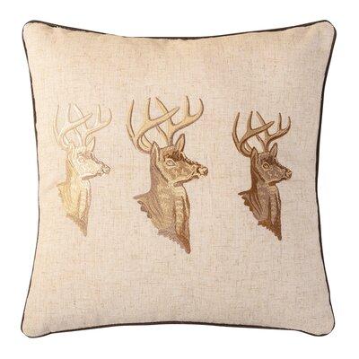 Golden Buck Embroidered Throw Pillow