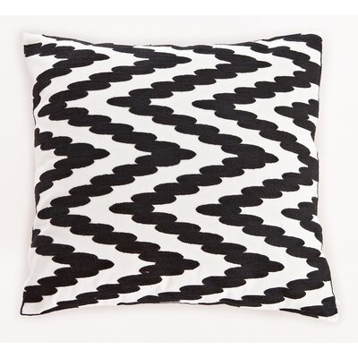 Embroidered Chevron Dots Cotton Throw Pillow