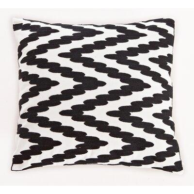 Embroidered Chevron Dots Cotton Throw Pillow