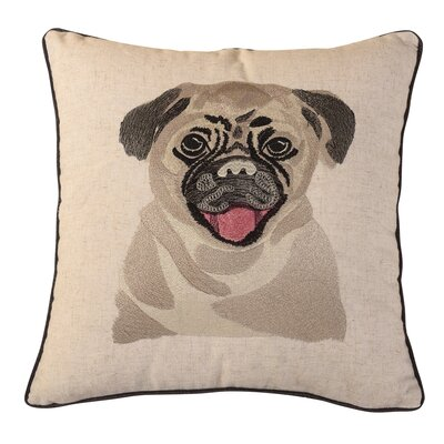 Bulldog Embroidered Throw Pillow
