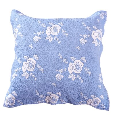 Rose Melody Sham Size: Euro, Color: Light Blue