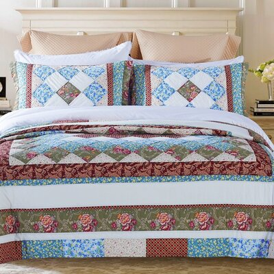 Meadow Patchwork 3 Piece Queen Quilt Set