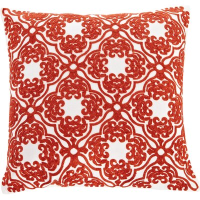 Embroidered Lattice Cotton Throw Pillow Color: Red