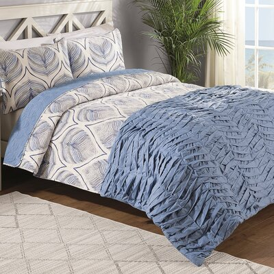 Crest Home Sanibel 4 Piece Reversible Comforter Set Size: Queen