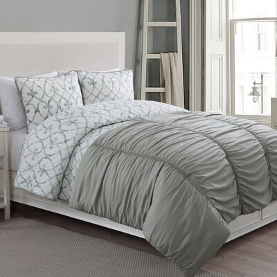 Crest Grace 4 Piece Reversible Comforter Set Size: Queen