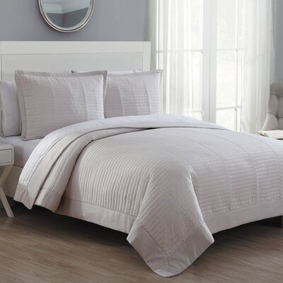 Grid Reversible Quilt Set Size: King, Color: Cream