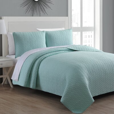Tristan Quilt Set Size: Full/Queen, Color: Seafoam