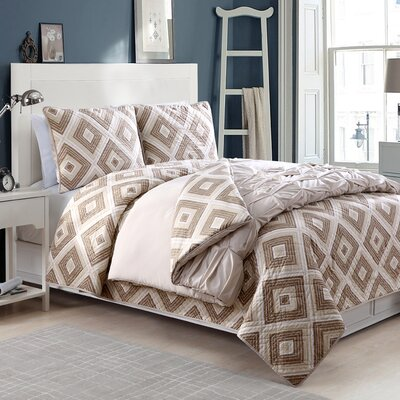 Crest Darcy 4 Pieces Reversible Comforter Set Size: Queen