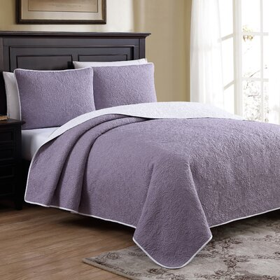 Marseille Reversible Quilt Set Size: Twin, Color: Purple