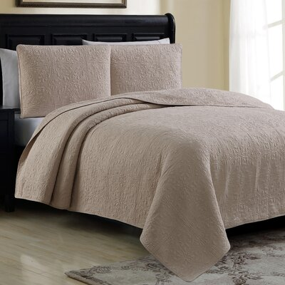 Estate Cotton Quilt Set Color: Linen, Size: King