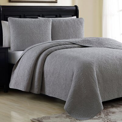 Estate Colmar Quilt Set Color: Platinum, Size: Full/Queen