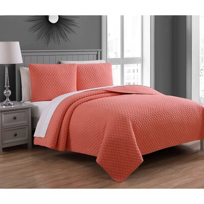 Estate Fenwick Cotton Quilt Set Size: Full/Queen, Color: Coral