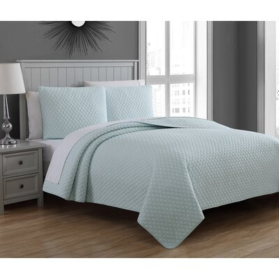Estate Fenwick Cotton Quilt Set Size: King, Color: Aqua