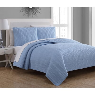 Tristan Quilt Set Size: King, Color: Blue