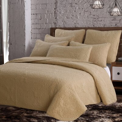 Curtis Quilt Set Size: King, Color: Sand