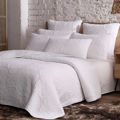 Pericles Avani Quilt Set Size: Full/Queen, Color: White