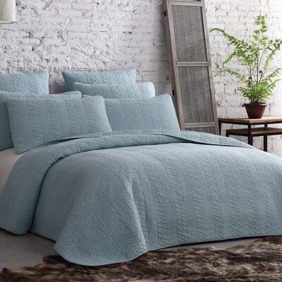 Roman Bleeker Quilt Set Size: Full/Queen, Color: Dusty Blue