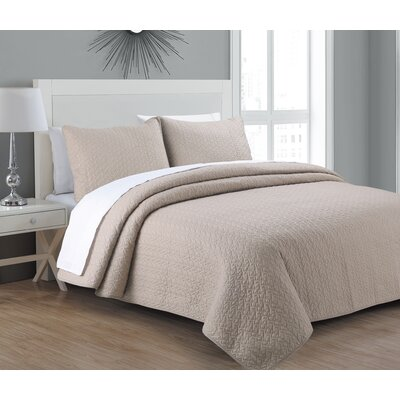 Cataleya Quilt Set Size: Full/Queen, Color: Taupe