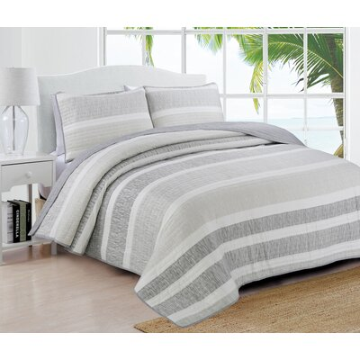 Phillips Quilt Set Color: Gray, Size: Twin